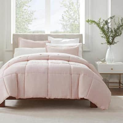 Simply Clean 3-Piece Blush Pleated Microfiber Full/Queen Comforter Set