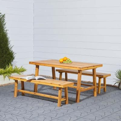 Miami 3-Piece Wood Outdoor Dining Set
