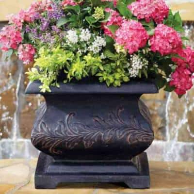 21.25 in. Square Charcoal Cast Stone Bombe Planter