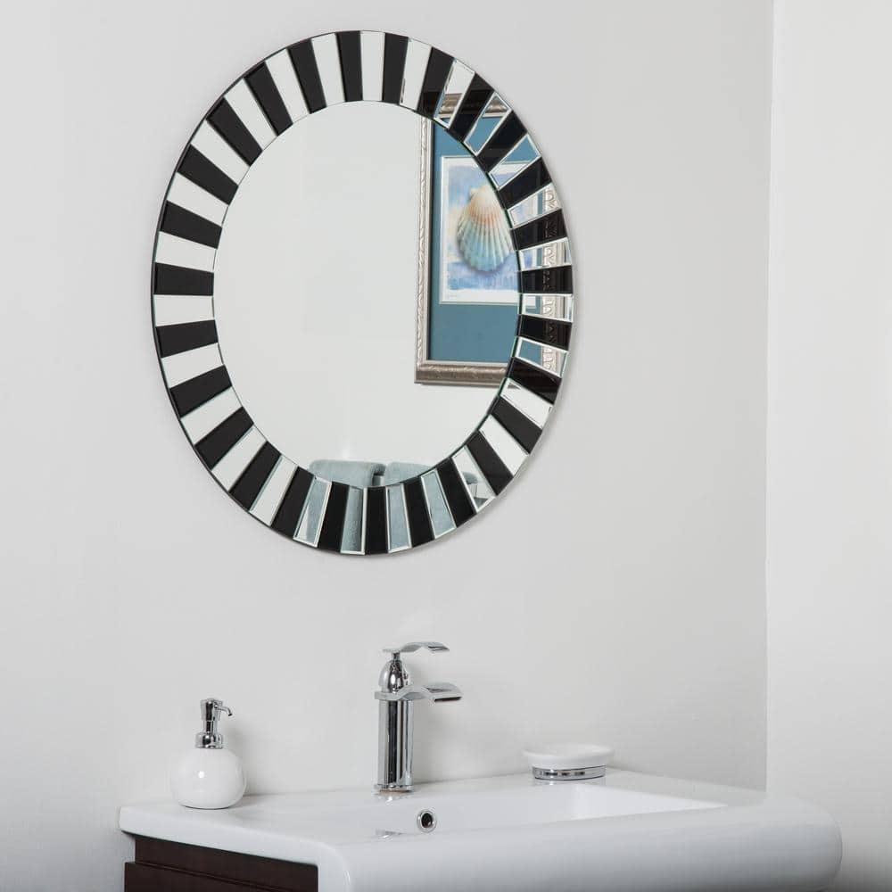 Decor Wonderland 27 6 In X 27 6 In Glow Modern Round Two Tone Frameless Bathroom And Wall Mirror With Bevel Dwsm529c The Home Depot