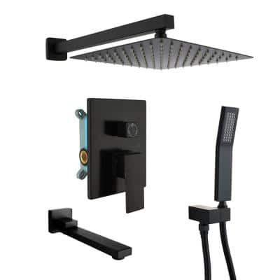 1-Spray Patterns with 2.5 GPM 10 in. 3-Way Wall Mount Rain Dual Shower Heads with Tub Shower Faucet in Matte Black