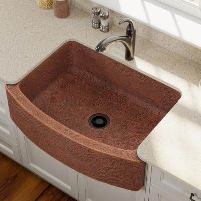 Farmhouse Apron Front Copper 33 in. Single Bowl Kitchen Sink with Flange