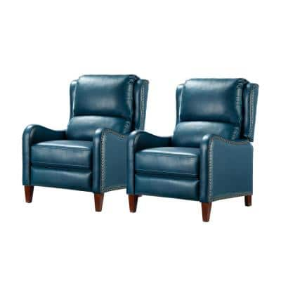 Hyde Turquoise Genuine Leather Recliner with Nailhead Trim (Set of 2)