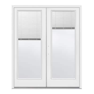 60 in. x 80 in. Right-Hand/Outswing Low-E 1 Lite Primed Fiberglass Double Prehung Patio Door with Internal Blinds