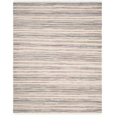 Rag Rug Ivory/Gray 5 ft. x 8 ft. Striped Area Rug