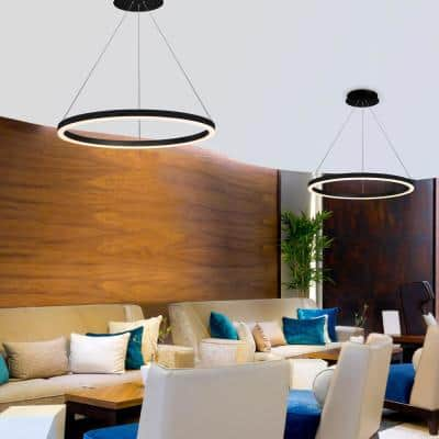 Tania Round 24 in. 36-Watt Black Integrated LED Chandelier