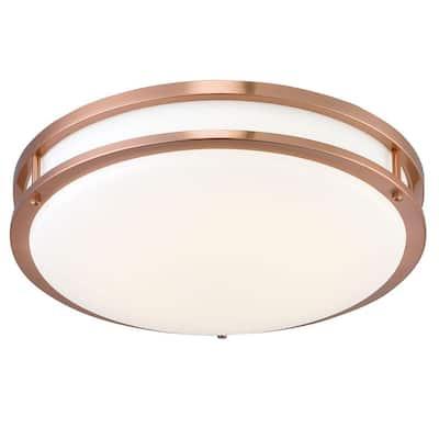 DC 16 in. 1-Light Rose Gold Low-Profile Integrated LED Ceiling Flush Mount Light
