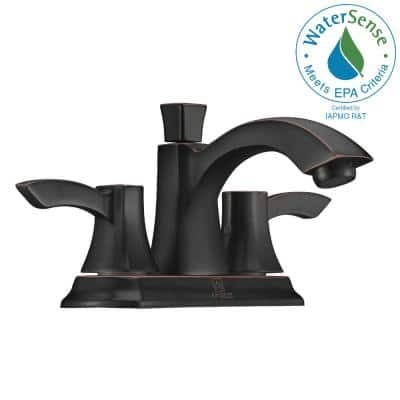 Vista Series 4 in. Centerset 2-Handle Mid-Arc Bathroom Faucet in Oil Rubbed Bronze