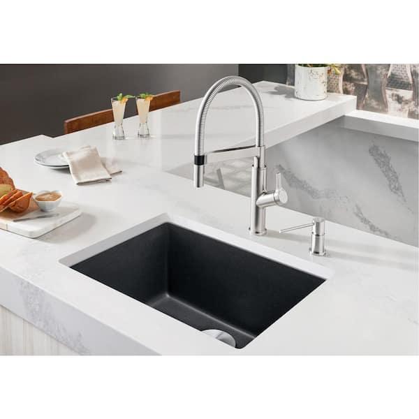 Blanco Precis Undermount Granite Composite 24 In Single Bowl Kitchen Sink Anthracite 522258 The Home Depot