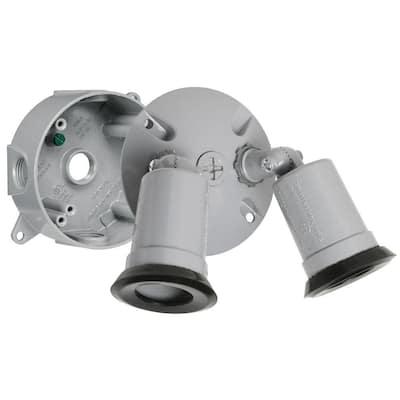 75-150W PAR38 Gray Round Outdoor Spot Light Kit (4-Pack)