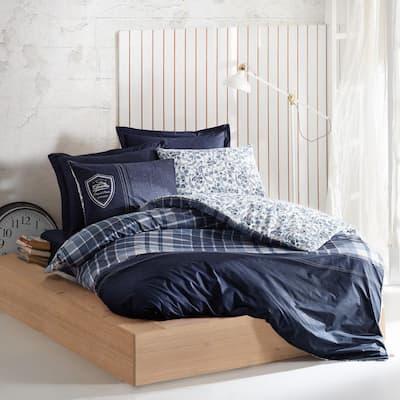 Navy Ships Cotton Duvet Cover Set Dark Blue, Full Size Duvet Cover, 1-Duvet Cover, 1-Fitted Sheet and 2-Pillowcases
