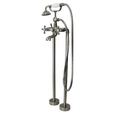 Cromwell 2-Handle Freestanding Floor Mount Tub Faucet with Handshower in Brushed Nickel