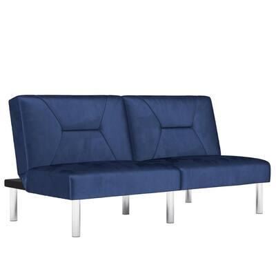 Mellie Blue Velvet Upholstered Futon