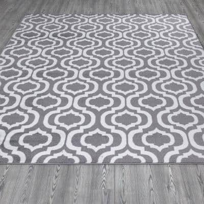 Montvale Collection Moroccan Trellis Gray and Ivory 7 ft. 8 in. x 9 ft. 8 in. Area Rug
