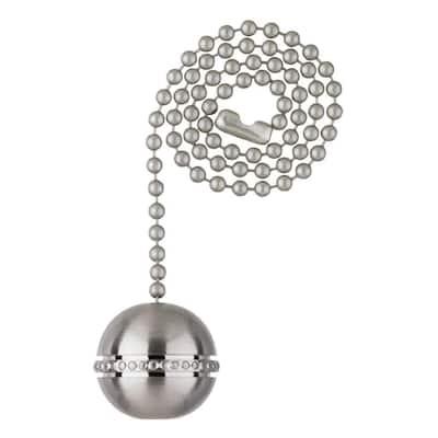 Brushed Nickel Beaded Ball Pull Chain