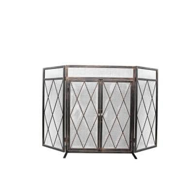 Kempston Park Oil Rubbed Bronze 3-Panel 50 in. Fireplace Screen with Doors