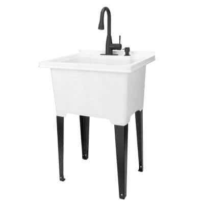 25 in. x 21.5 in. ABS Plastic Freestanding Utility Sink in White - Matte Black Pull-Down Faucet, Soap Dispenser