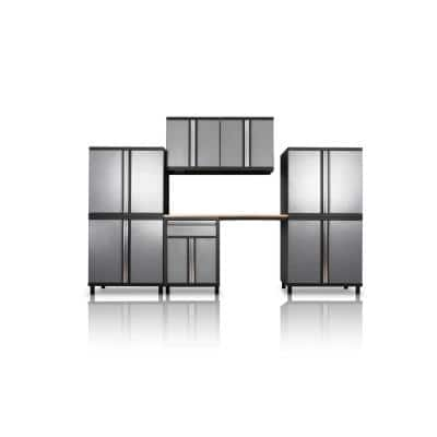 Pro Series III 81.1 in. H x 131.5 in. W x 18 in. D 23/24-Gauge Steel Wood Worktop Cabinet Set in Gray (8-Piece)