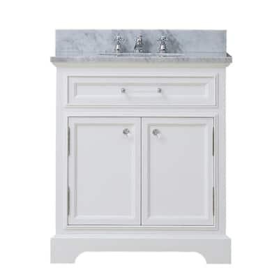 24 in. W x 22 in. D x 34 in. H Bath Vanity in White with Marble Vanity Top in Carrara White with White Basin