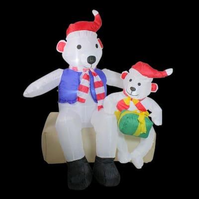4 ft. Inflatable Polar Bear Family Lighted Christmas Yard Art Decoration
