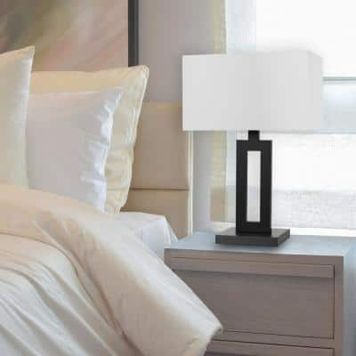 D'Alessio 20 in. Matte Black Table Lamp with White Linen Shade