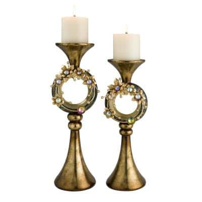 Multicolor Virgo Orchid Polyresin Candleholders (Set of 2)