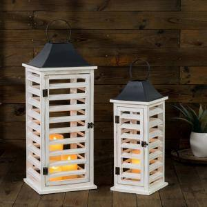 Wash White Farmhouse Wooden Shutter Lanterns (Set of 2)