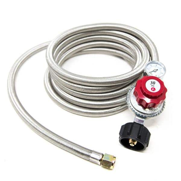 Gasone 12 Ft 0 Psi To 30 Psi High Pressure Regualtor And Steel Braided Hose With Psi Gauge 2123 012 The Home Depot