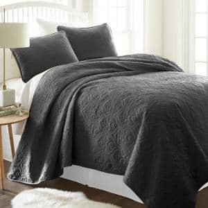 Damask Gray Microfiber Queen Performance Quilted Coverlet Set