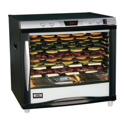 Pro-1200 12-Tray Black Food Dehydrator with Temperature Control