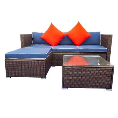 Geometric Brown 3-Pieces Wicker outdoor Sectional sofa Set with Blue Cushions