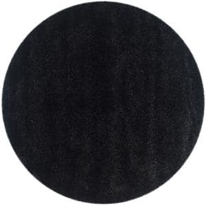 California Shag Black 4 ft. x 4 ft. Round Area Rug
