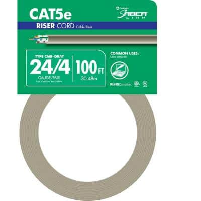 100 ft. Gray 24/4 Solid CU CAT5e CMR (Riser) Data Cable