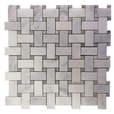 Basketbraid Asian Statuary 12 in. x 12 in. x 10 mm Honed Marble Mosaic Tile