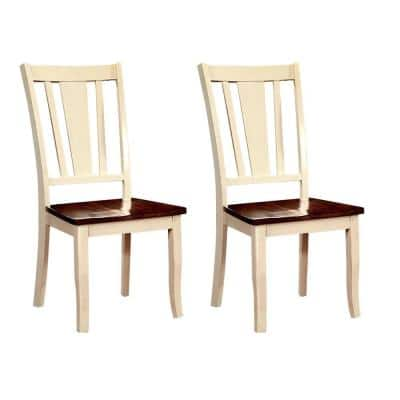 Dover Vintage White and Cherry Transitional Style Side Chair
