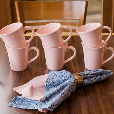 Floreal 11.16 oz. Pink Earthenware Mugs (Set of 12)