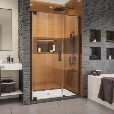 Elegance-LS 51-3/4 in. to 53-3/4 in. W x 72 in. H Frameless Pivot Shower Door in Oil Rubbed Bronze