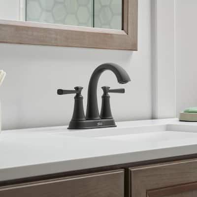 Rumson 4 in. Centerset 2-Handle Bathroom Faucet in Matte Black