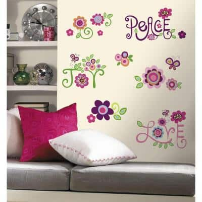 5 in. x 11.5 in. Love, Joy, Peace Peel and Stick Wall Decal