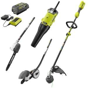 40V Expand-It™ Kit with String Trimmer, Edger, Pole Saw & Leaf Blower Attachments with 4.0 Ah Battery and Charger