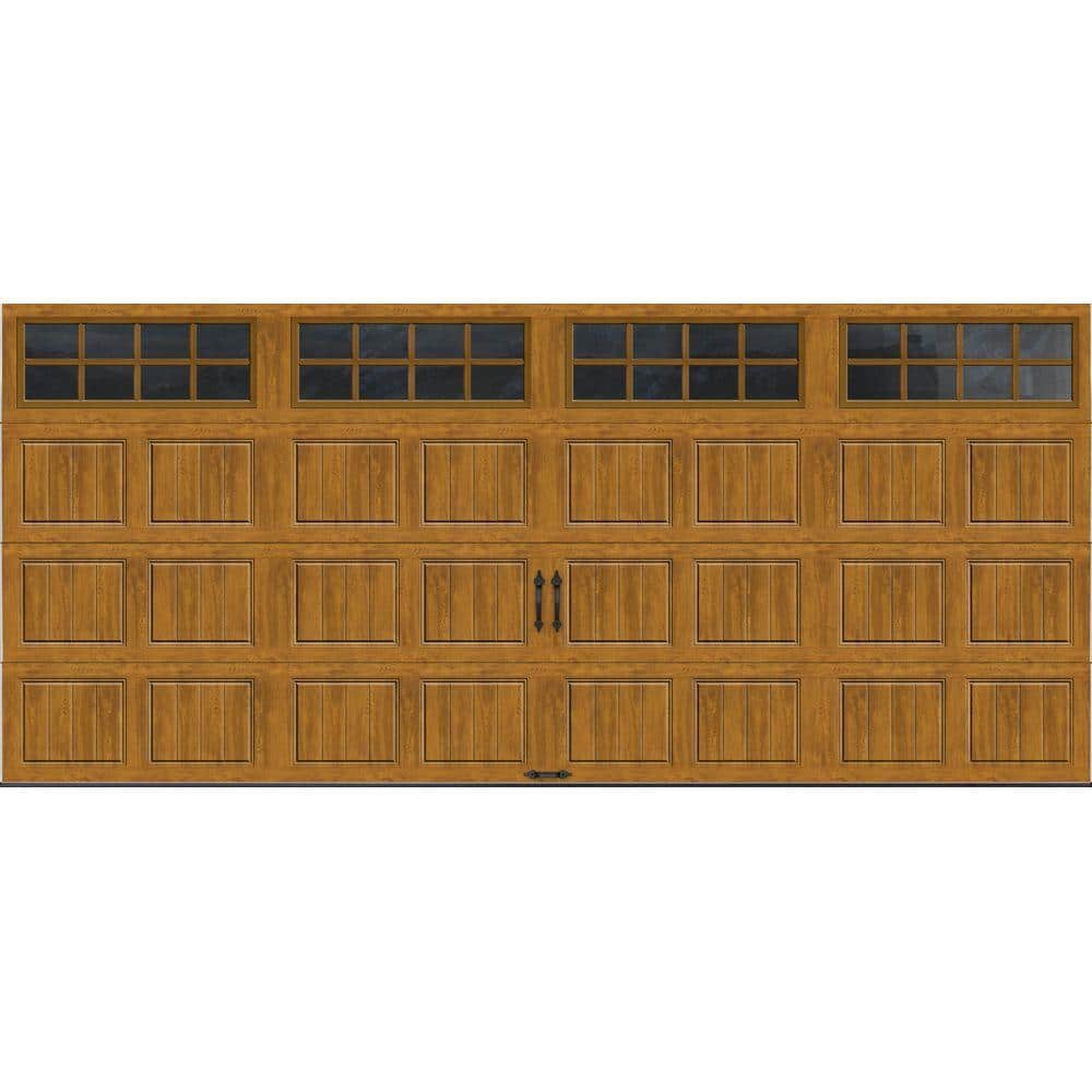 Clopay Gallery Collection 16 Ft X 7 Ft 6 5 R Value Insulated Ultra Grain Medium Garage Door With Sq24 Window Gr1sp Mo Sq24 The Home Depot