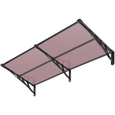 6.67 ft. 80 in. Polycarbonate Spliced Window Awning in Brown with Black Bracket