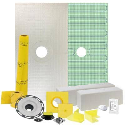 Pro GEN II 32 in. x 60 in. Floor Heating and Shower Waterproofing Kit with Center Drain and ABS Flange