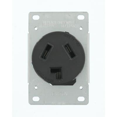30 Amp 125-Volt/250-Volt Shallow Single Flush Mounted Outlet, Black