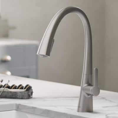 Nolen Single-Handle Pull-Down Sprayer Kitchen Faucet with Dual Function Sprayer in All-Brite Spot Free Stainless Steel