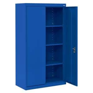 System Series 64 in. H x 30 in. W x 18 in. D Blue Double Door Storage Cabinet with Adjustable Shelves