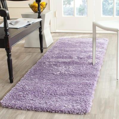 California Shag Lilac 2 ft. x 13 ft. Solid Runner Rug