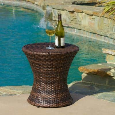 Phoebe Multi-Brown Round Wicker Outdoor Accent Table
