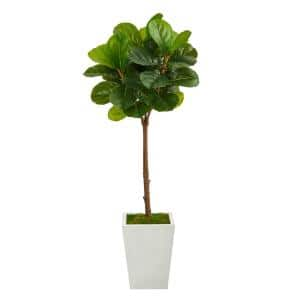 4ft. Fiddle Leaf Tree in White Metal Planter (Real Touch)