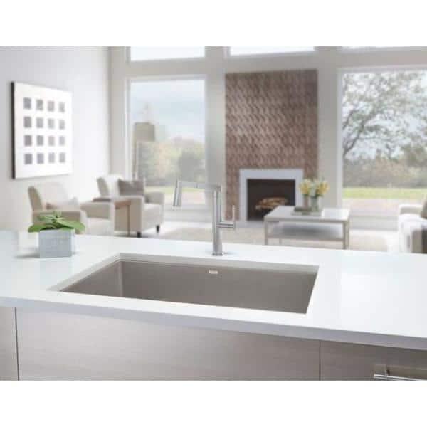 Blanco Precis Undermount Granite Composite 24 In Single Bowl Kitchen Sink Truffle 522417 The Home Depot